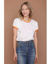 Camp Collection - Double Trouble Ringer Tee - Vintage White W/sunshine - Lyst