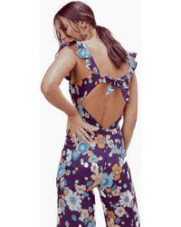 167e363e1c4b For Love   Lemons - Magnolia Ruffled Jumpsuit - Midnight Blossom - Lyst
