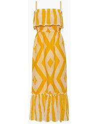 lemlem Biruhi Long Tier Dress - Yellow Multi Pattern Print