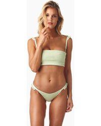 Montce Swim - Silvana Ruffle Bandeau Bikini Top - Vert Green Gingham - Lyst