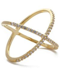 JEWEL CULT - Pave Crystal X Cross Ring - Lyst
