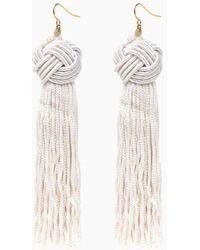 Vanessa Mooney - Ivory Astrid Knotted Tassel Earrings - Lyst