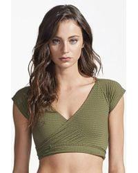Rosa Cha - Transpasse Crop Wrap Bikini Top - Olive Green - Lyst