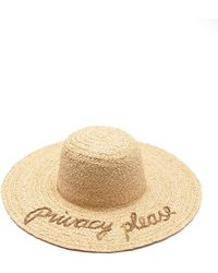 Hat Attack - What's Your Motto Raffia Sun Hat - Privacy Please - Lyst