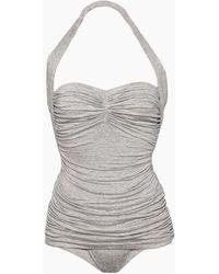 Norma Kamali - Bill Mio Halter Sweetheart Neckline One Piece Swimsuit - Light Grey - Lyst