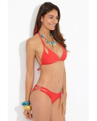 Luli Fama Zig Zag Reversible Knotted Cut Out Triangle Bikini Top - Girl On Fire Red/ Gold