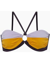 Seafolly - Amulet Hardware Bandeau Bikini Top - Purple/gold Colour Block - Lyst