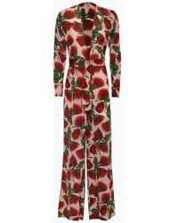 Adriana Degreas - Silk Crepe De Chine Knot Detail Jumpsuit - Fiore Rose Print - Lyst