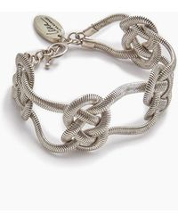 Lena Bernard - Sabha Knotted Silver Fishtail Chain Bangle Bracelet - Lyst