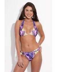LOOK Z - Purple Tiger Halter Bikini Top - Bold Purple/yellow Abstract Tiger Print - Lyst