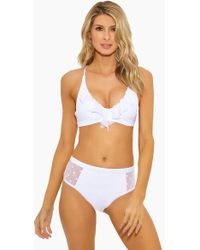 Ella Moss - Sheer Dot Removable Halter Bikini Top - White - Lyst