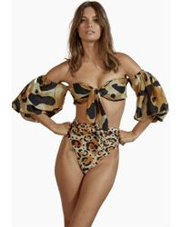 Agua de Coco - Bandeau Off The Shoulders Long Sleeves Bikini Top - Jaguar Print - Lyst