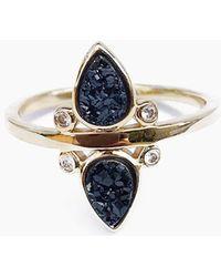 Elizabeth Stone - Gemstone Teardrop Ring - Black Druzy - Lyst