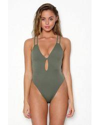 Peixoto - Isla Criss-cross Back One Piece Swimsuit - Forest Green - Lyst