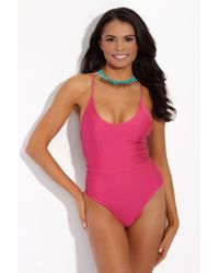 S.I.E SWIM - Bella Lace Up Back One Piece - Metallic Hibiscus - Lyst