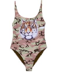 Wildfox | Kenny One Piece - Camo With Tiger | Lyst