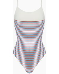 Solid & Striped - The Chelsea Color Block High Cut One Piece Swimsuit - Multi Breton Stripe Print - Lyst