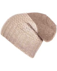 Black.co.uk - Light Brown And Biscuit Cashmere Slouchy Beanie - Lyst