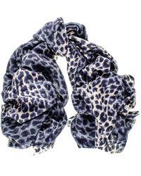 Black.co.uk - Pre-order - Navy Leopard Print Silk And Merino Wool Scarf - Lyst