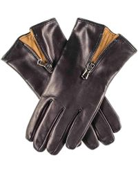 Black.co.uk - Black And Tobacco Cashmere Lined Leather Gloves With Zip Detail - Lyst