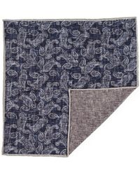 Black.co.uk - Navy Paisley Reversible Silk And Cotton Pocket Square - Lyst