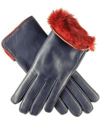 Black.co.uk - Navy And Red Rabbit Lined Leather Gloves - Lyst