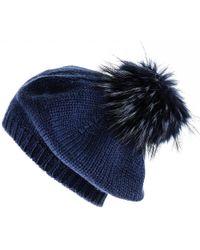 Black.co.uk - Navy Blue Cashmere And Fur Pom Pom Beret - Lyst