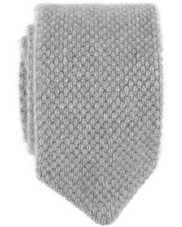 Black.co.uk - Light Grey Italian Knitted Cashmere Tie - Lyst