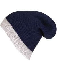 Black.co.uk - Navy And Grey Cashmere Slouch Beanie - Lyst