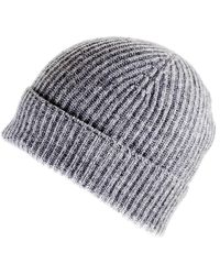 Black.co.uk - Light Grey Cashmere Beanie Hat - Lyst