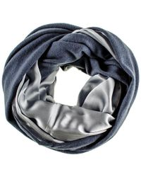 Black.co.uk - Double Size Airforce Blue Cashmere And Silver Satin Snood - Lyst