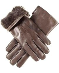 Black.co.uk - Chocolate Brown Leather Gloves With Brown Rabbit Lining - Lyst