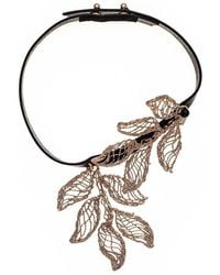 Black.co.uk - Electra Bronze And Leather Choker With Pendant - Lyst