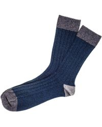 Black.co.uk - Teal And Grey Cashmere Socks - Lyst