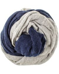 Black.co.uk - Navy And Silver Grey Double Sided Long Cashmere Snood - Lyst