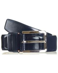 Black.co.uk - Navy Blue Textured Leather Belt - Lyst