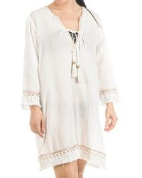 Black.co.uk - White And Bronze Cotton Kaftan Dress - Lyst