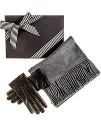 Black.co.uk - Rabbit Fur Lined Gloves And Grey Cashmere Scarf Gift Set - Lyst