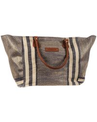 Black.co.uk - Mykonos Navy And Gold Hessian Beach Tote Bag - Lyst