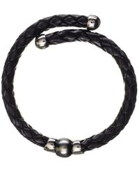 Black.co.uk - Oberon Tahitian Black Pearl Silver And Leather Bracelet - Lyst
