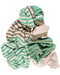 Black.co.uk - Green And Taupe Multi Striped Cashmere Scarf - Lyst