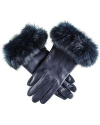 Black.co.uk - Ladies Navy Leather Gloves With Rabbit Fur Cuff - Lyst