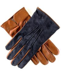 Black.co.uk | Men's Navy Suede And Tan Leather Gloves-cashmere Lined | Lyst