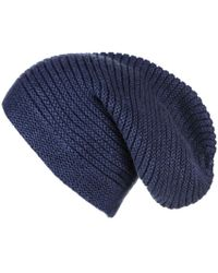 Black.co.uk - Midnight Navy Blue Rib Knit Cashmere Slouch Beanie - Lyst