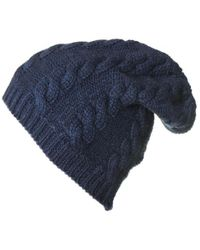 Black.co.uk - Navy Cable Knit Cashmere Slouch Beanie - Lyst