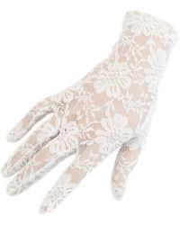 Black.co.uk Short Ivory Fine Lace Gloves