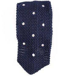 Black.co.uk - Framura Navy Polka Dot Knitted Silk Tie - Lyst