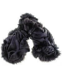 Black.co.uk - Fur Trimmed Black Cashmere Ring Shawl - Lyst