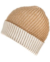 Black.co.uk - Camel And Cream Cashmere Beanie - Lyst