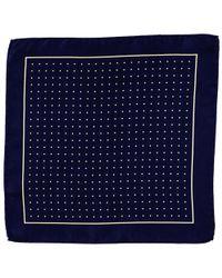 Black.co.uk - Navy And Yellow Polka Dot Italian Silk Pocket Square - Lyst